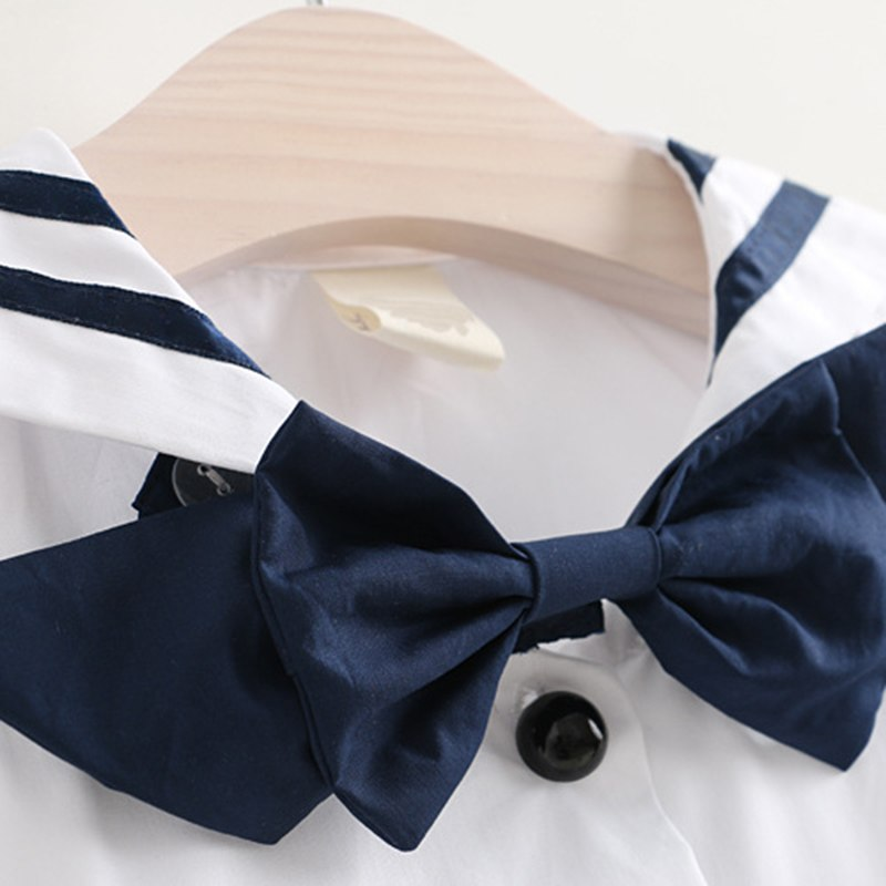 Girls Dress  Summer New Sailor Suit Button Decoration Girl  Squa