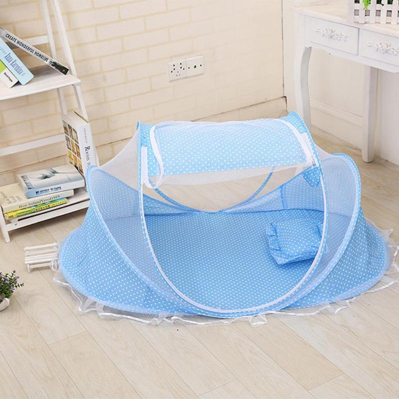 Baby Folding Bedding Crib Netting Newborn Baby Blue Color Dot Bed Mosquito Net With Soft Mattress Pillow Kit for 0-2T Kids p2181Buy mate