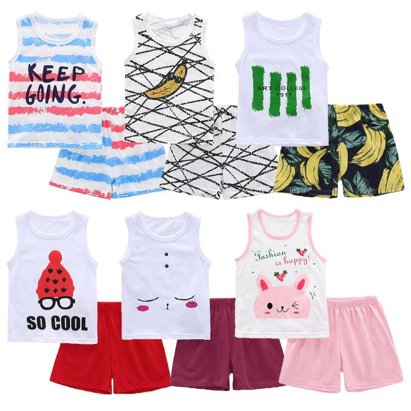 2 Pcs /Set Unisex Summer Baby Clothes Set Cotton Cartoon Tank