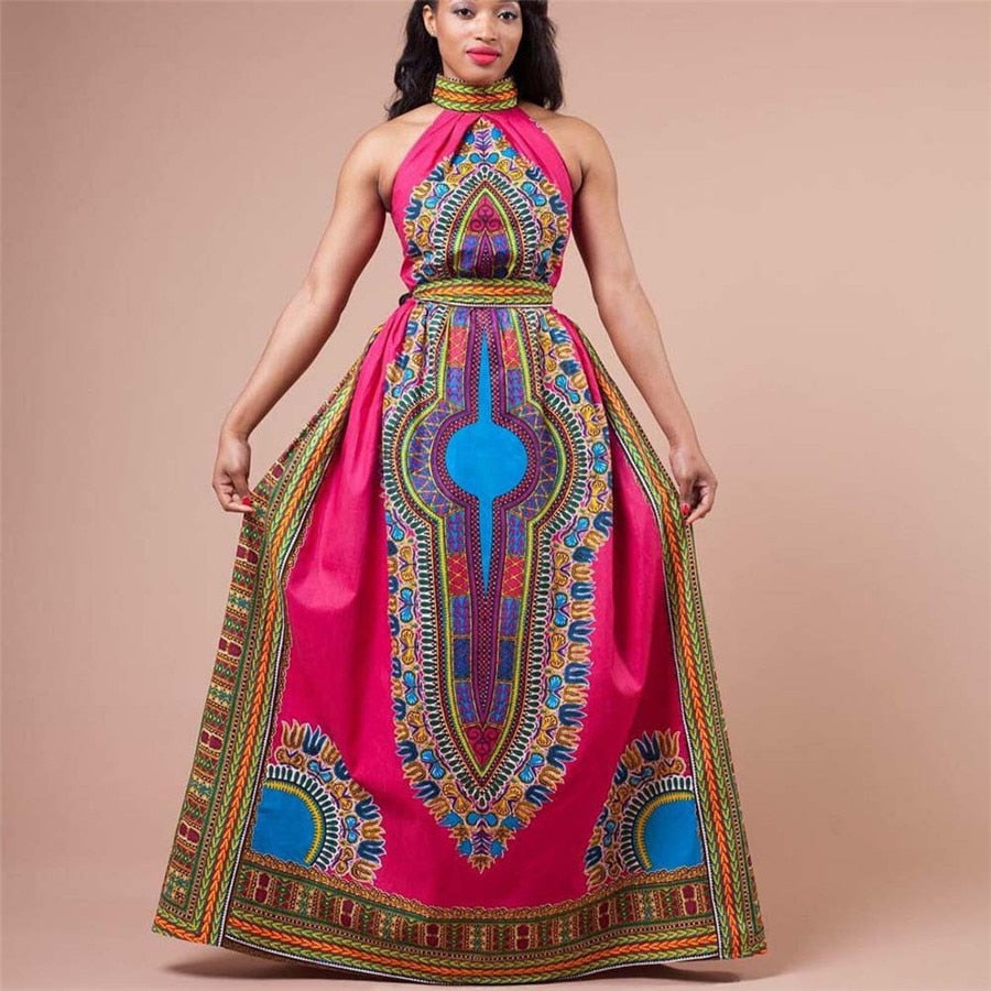 Women Sexy Africa Print Dress Dashiki Fashion Sleeveless  poncho Long Dress P0501