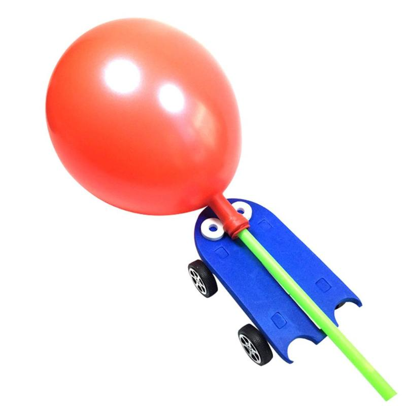 Children DIY Balloon Power Car Kit Technology Opposite Reaction Invented Science p2755