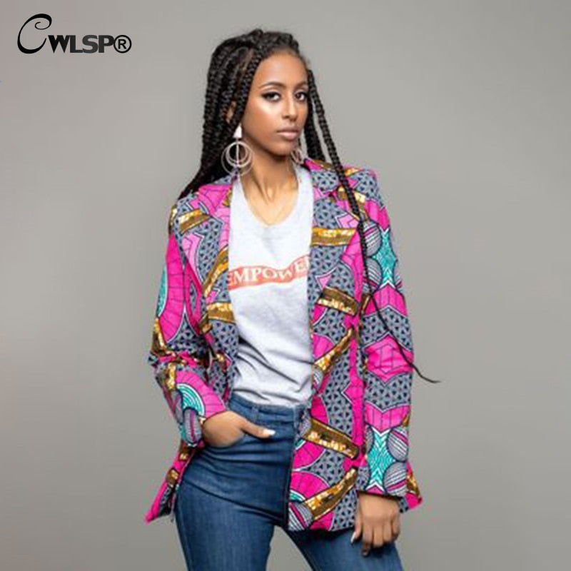 Autumn Print Africa Nation Women Suit Jacket Long Sleeve Turn-down Collar Long Coat Sexy Spring Jacket Dashiki p0533Buy mate