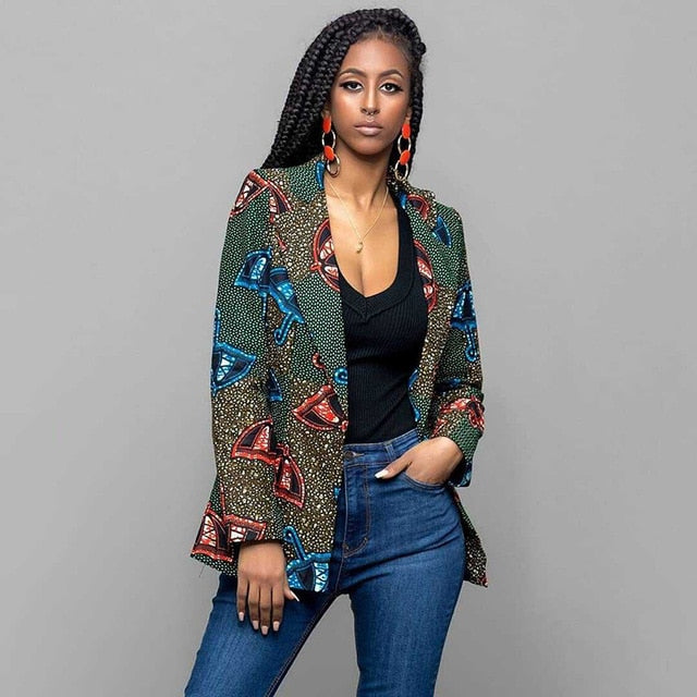 Autumn Print Africa Nation Women Suit Jacket Long Sleeve Turn-down Collar Long Coat Sexy Spring Jacket Dashiki p0533