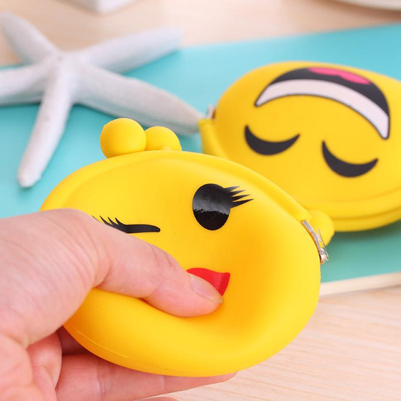 Cartoon Girls Change Coin Bags Faces Expression Key Wallets Silicone