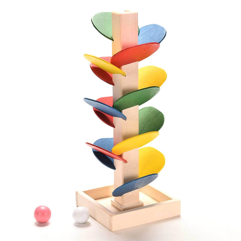 Children DIY Wooden Toys Colorful Building Blocks Tree Marble