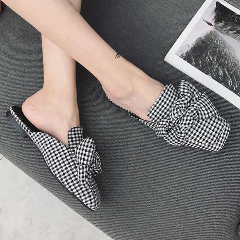 Women's Mules White Black Gingham Slides Shoes Women  Slingback