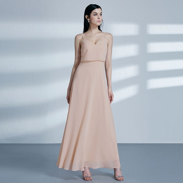 Blush Pink Bridesmaid Dresses  Sweetheart A-line V-neck Sleeveless