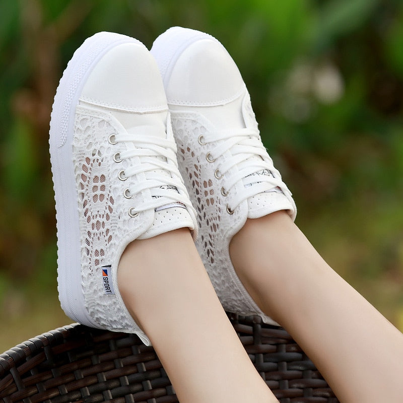 women shoes cutouts lace canvas hollow breathable casual platform flat shoes woman p1913