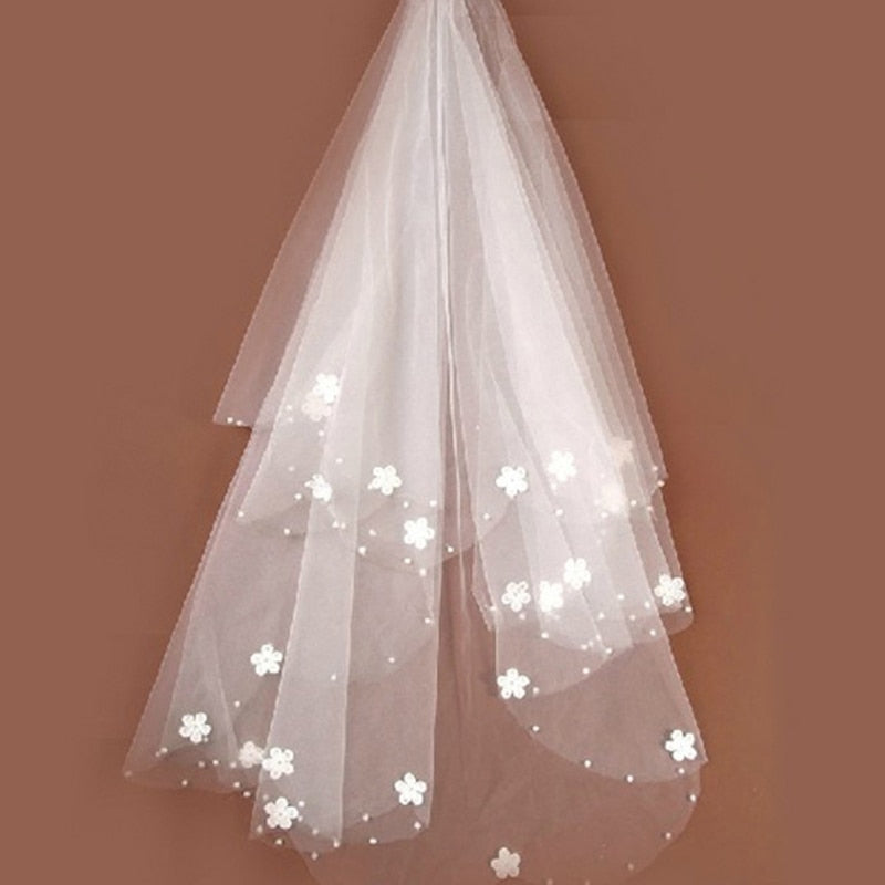 1 Layer Embroidered Flower Bridal Veil Simple Design Tulle Edge Women Wedding Accessories p3570Buy mate