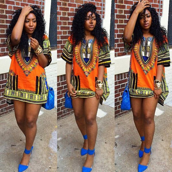 Ethnic Dress Women Africa Dashiki Shirt Kaftan Boho Hippie Gypsy Festival Tops p0520Orange / XLBuy mate