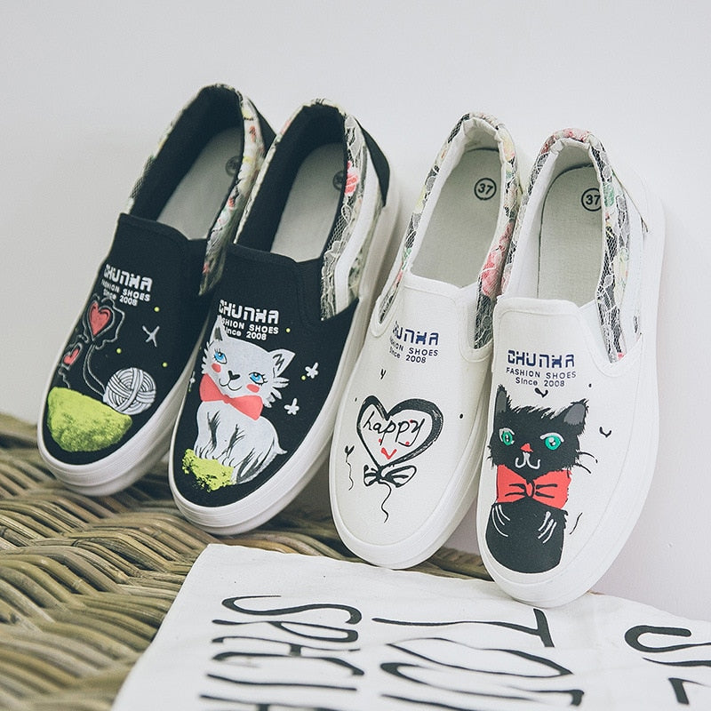 new female cat pads hand painted canvas shoes women's shoes.
