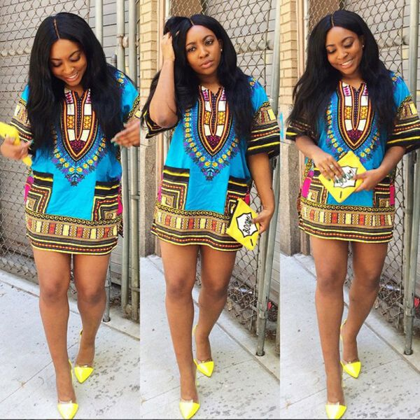 Ethnic Dress Women Africa Dashiki Shirt Kaftan Boho Hippie Gypsy Festival Tops p0531Blue / XLBuy mate
