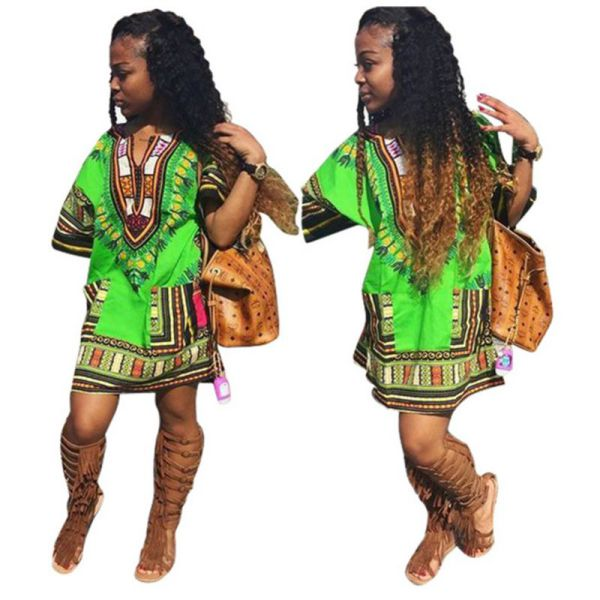 Ethnic Dress Women Africa Dashiki Shirt Kaftan Boho Hippie Gypsy Festival Tops p0531Green / XLBuy mate