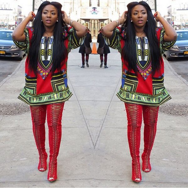 Ethnic Dress Women Africa Dashiki Shirt Kaftan Boho Hippie Gypsy Festival Tops p0531Red / XLBuy mate