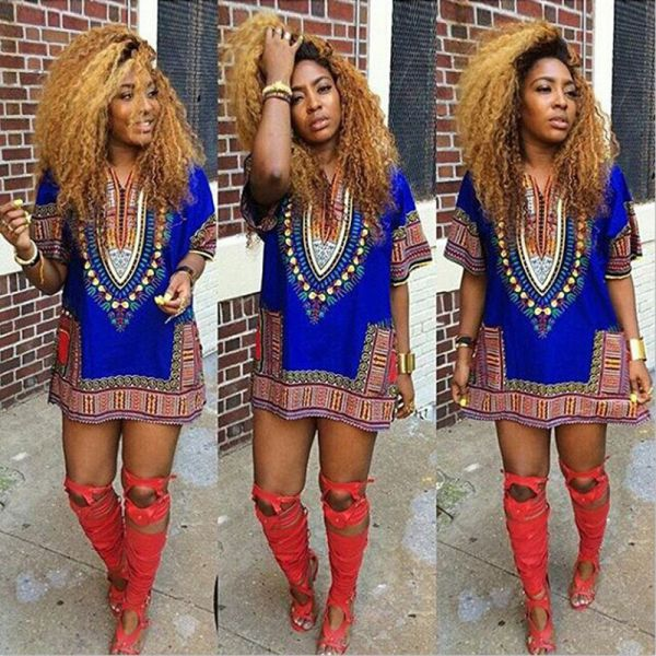 Ethnic Dress Women Africa Dashiki Shirt Kaftan Boho Hippie Gypsy Festival Tops p0531picture show / XLBuy mate