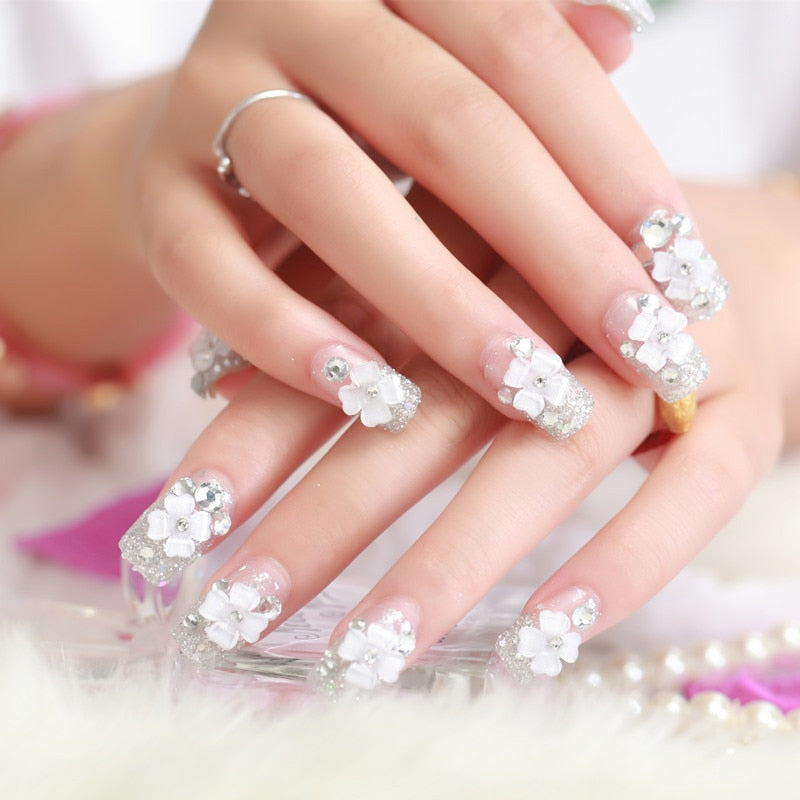 False Nail Tips Sticker Bride Press On Fake Nail Manicure Flash Chip With Glue p3642Buy mate