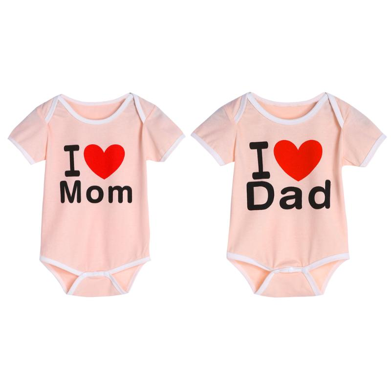Baby Romper Short Sleeve I Love Mom Dad Clothes Jumpsuit
