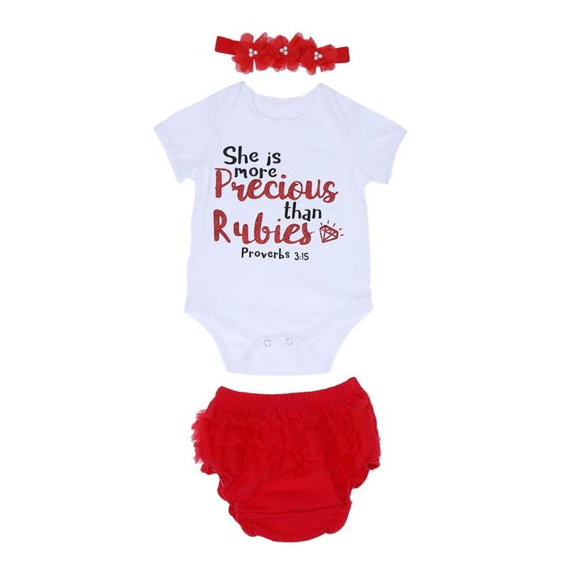 3pcs/set Baby Outfits Newborn Letter Print Short Sleeve