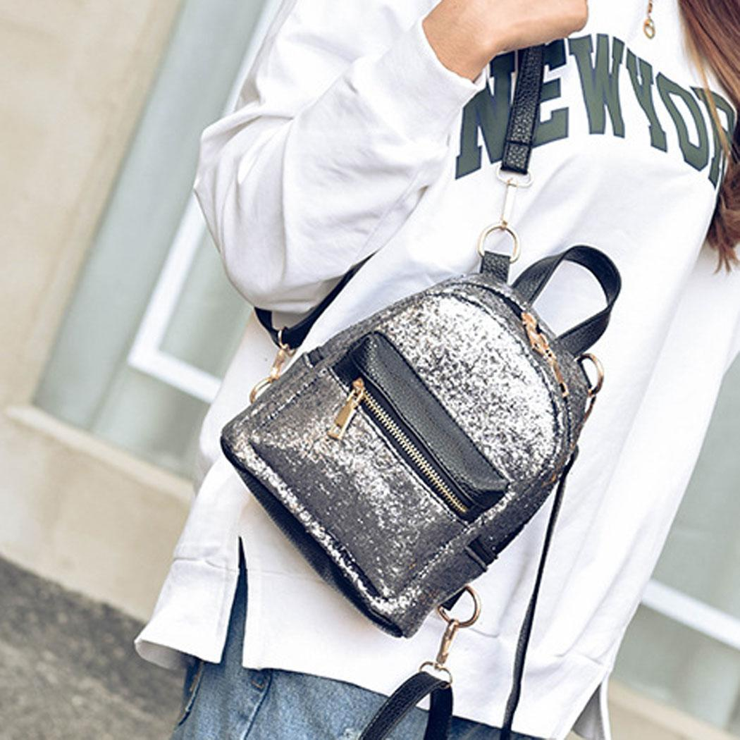 Fashion Women's  Korean Glitter Style Sequins PU Leather Mini Backpack Daypack p2722