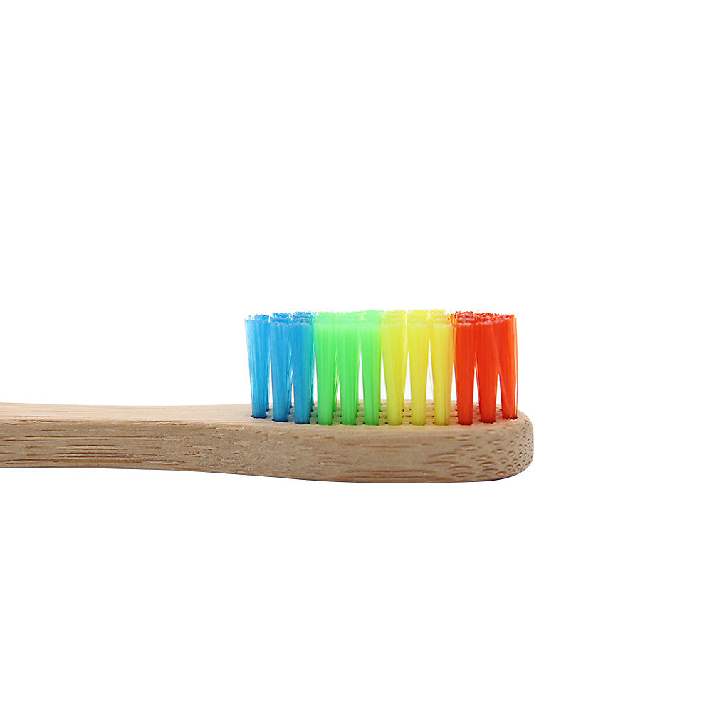 1pc Colorful Head Rainbow Bamboo Toothbrush With Soft Bristle