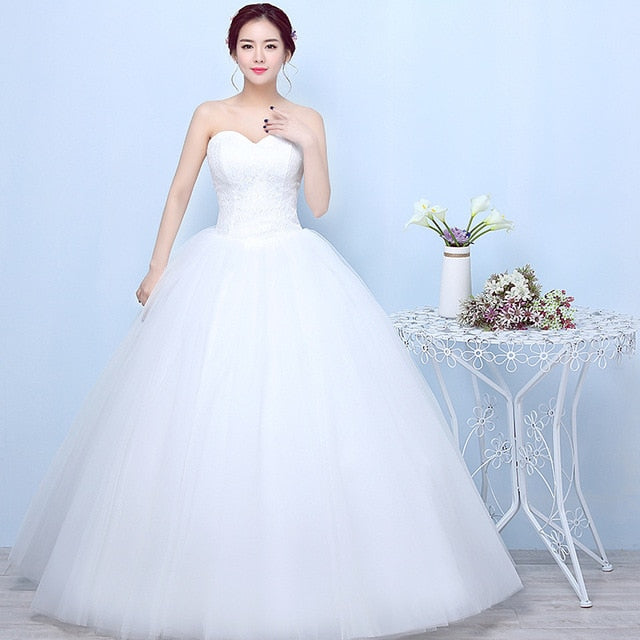 Robe De Mariage Princess Bling Bling Luxury Lace White Ball Gown Wedding Gowns Vestido De Noiva p3473white / 16Buy mate