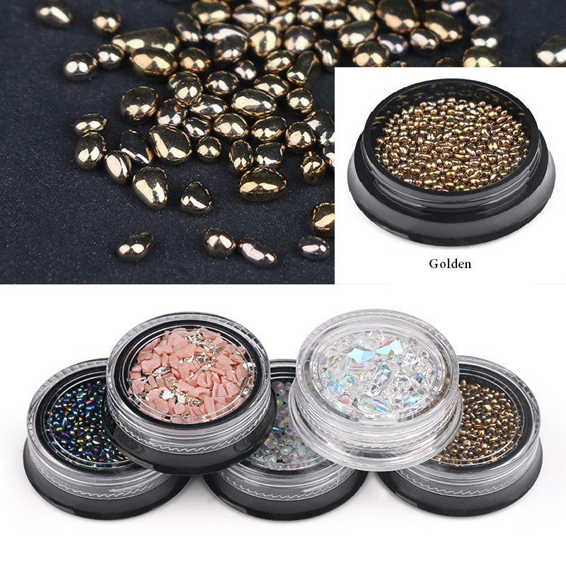 3D Mixed Design Nail Art Stickers Decals Metallic Studs Rhinestones Moon Star Gold Silver Line Pattern Manicure p3229GoldBuy mate