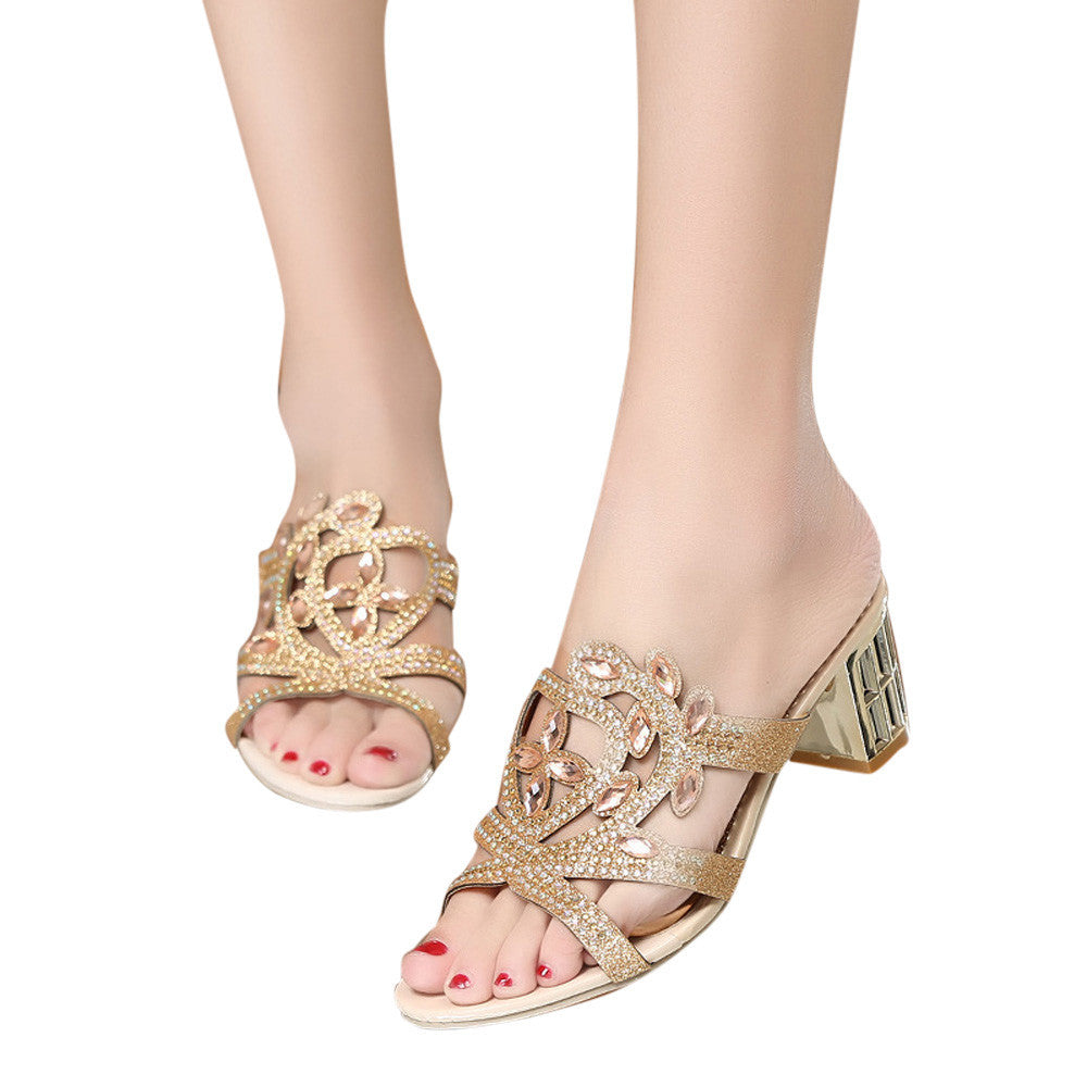 Fashion Women Girl Big Rhinestone Summer Sandals Ladies Sparklin