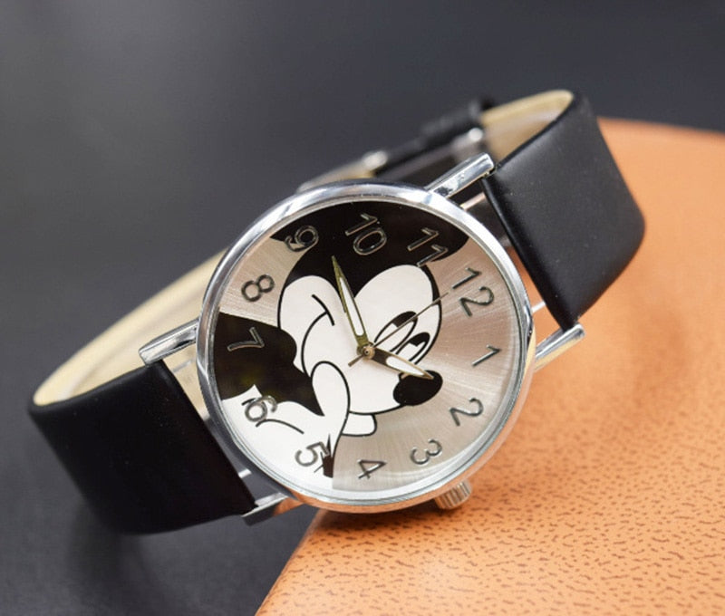 Fashion Watches Cute cartoon quartz wristwatch children leather watch Mickey watches p3949Buy mate