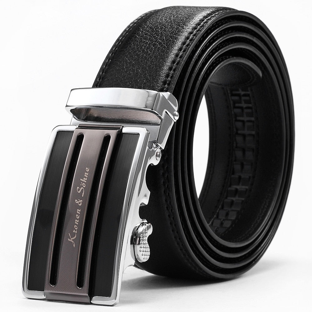 Fashion Strap KS Auto Stainless Steel Adjust Buckle Real Genuine Black Men's Waist Leather Belt p3816Buy mate
