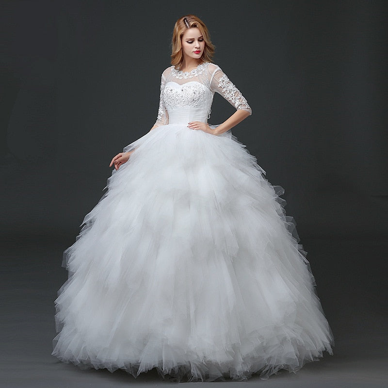 Women Beading Feather Wedding Dress Back Cut-out Lace-up Half Sleeve Illusion Mesh Ball Gown Bridal Dress p3595