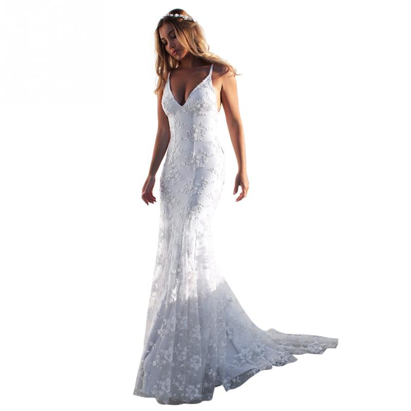 Woman Bridal Dress V Neck Lace Summer Wedding Sling Backless