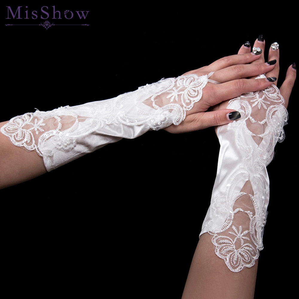 In Stock New Elbow Length Bridal Gloves Fingerless Lace Satin Wedding Gloves with pearl p3446Buy mate
