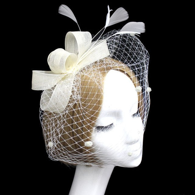 New Fascinator Net yarn Hair accessories Hat Women Bridal Headwear Feather p3652IvoryBuy mate