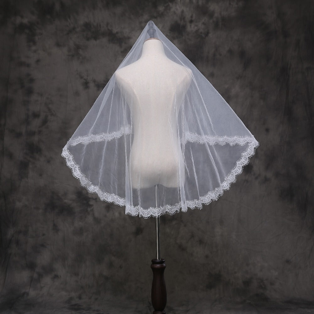 One Layer Lace at Bottom Wedding Veil WIth Comb New