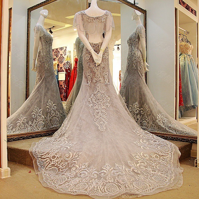 Mermaid Vestidos White High-grade Grey Luxury Wedding Dress Embroidery Lace Sexy Backless With Jacket p3626Buy mate