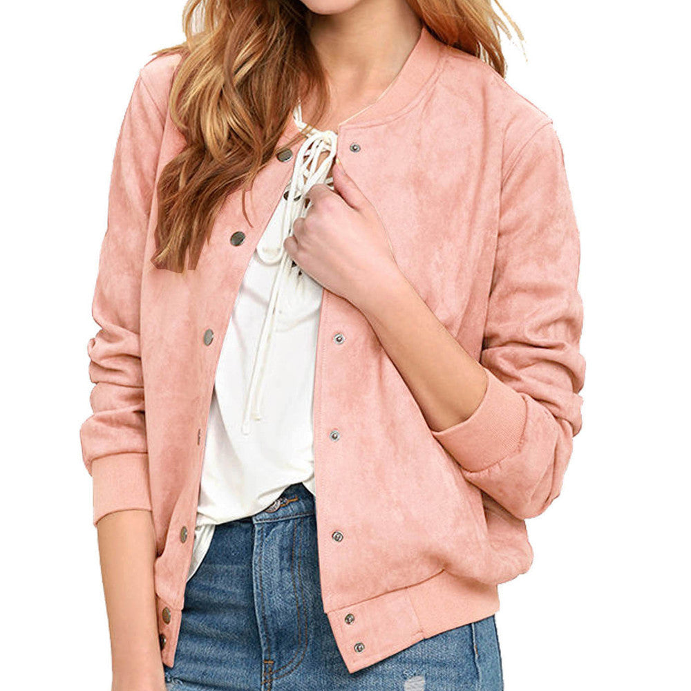 Long Sleeve Long Line Button Bomber Jacket Coat Collar Top