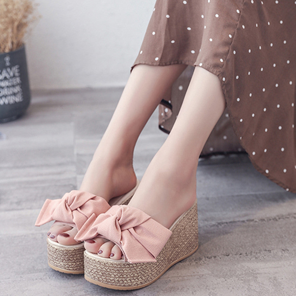 Women Fashion Solid Thick Bottom Wedges Sandals Slipper