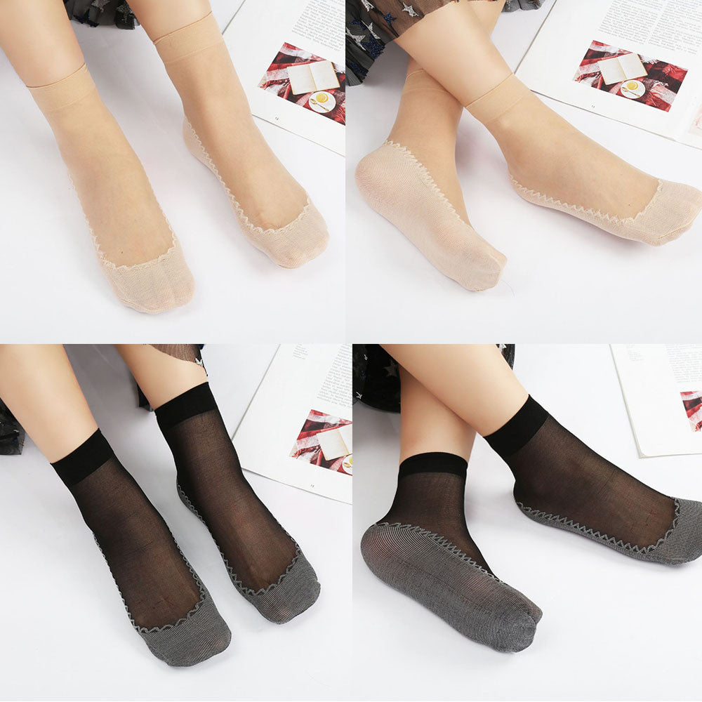 Women New Patchwork Silky Short Silk Stockings Transparent Socks