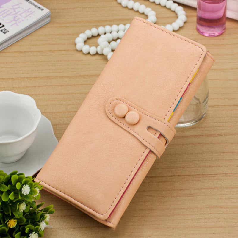 New Fashion Women Long Purse PU Leather Press Stud Closure Candy Color Wallet Card Holder p2798