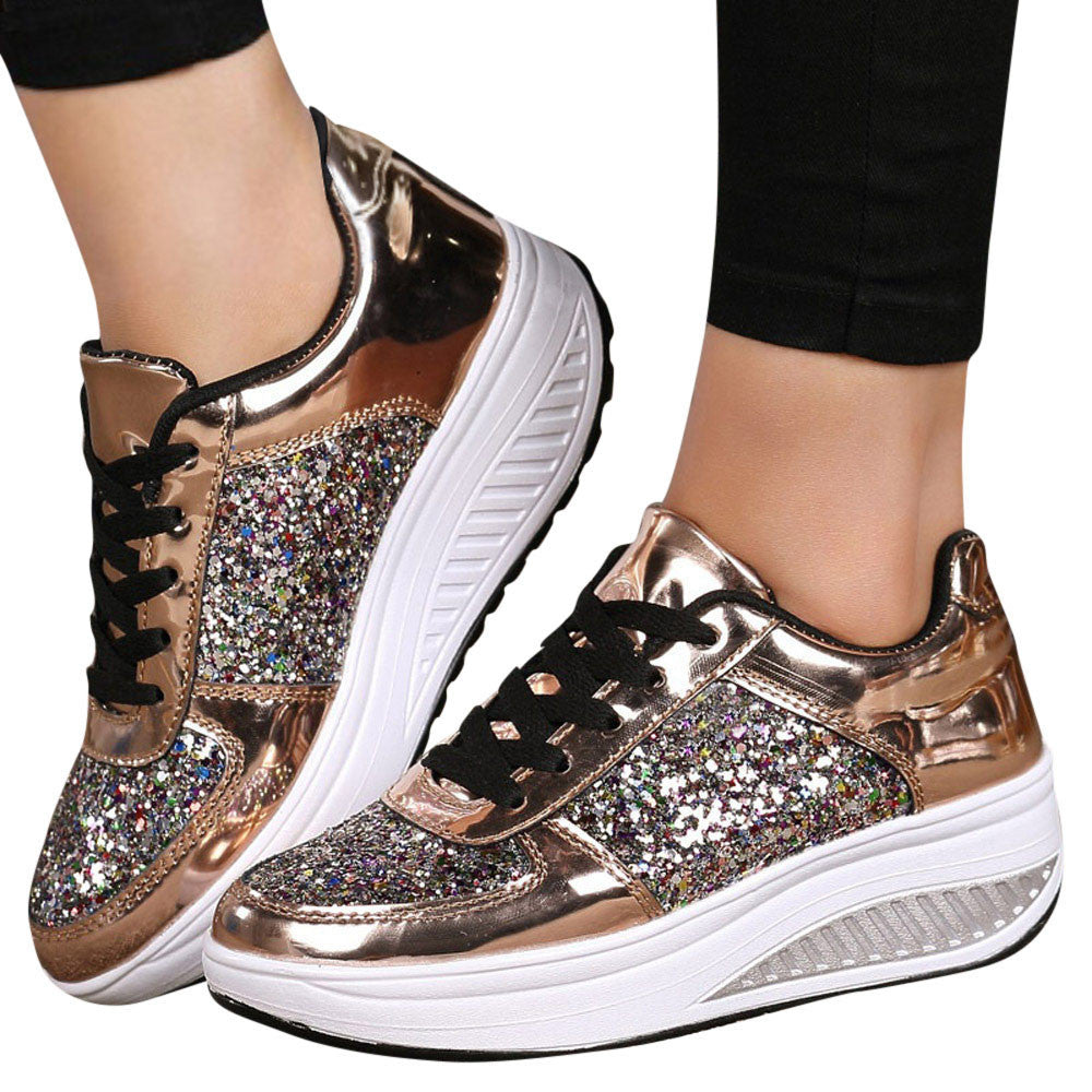Women's Ladies Wedges Sneakers Sequins Shake Shoes Fashion