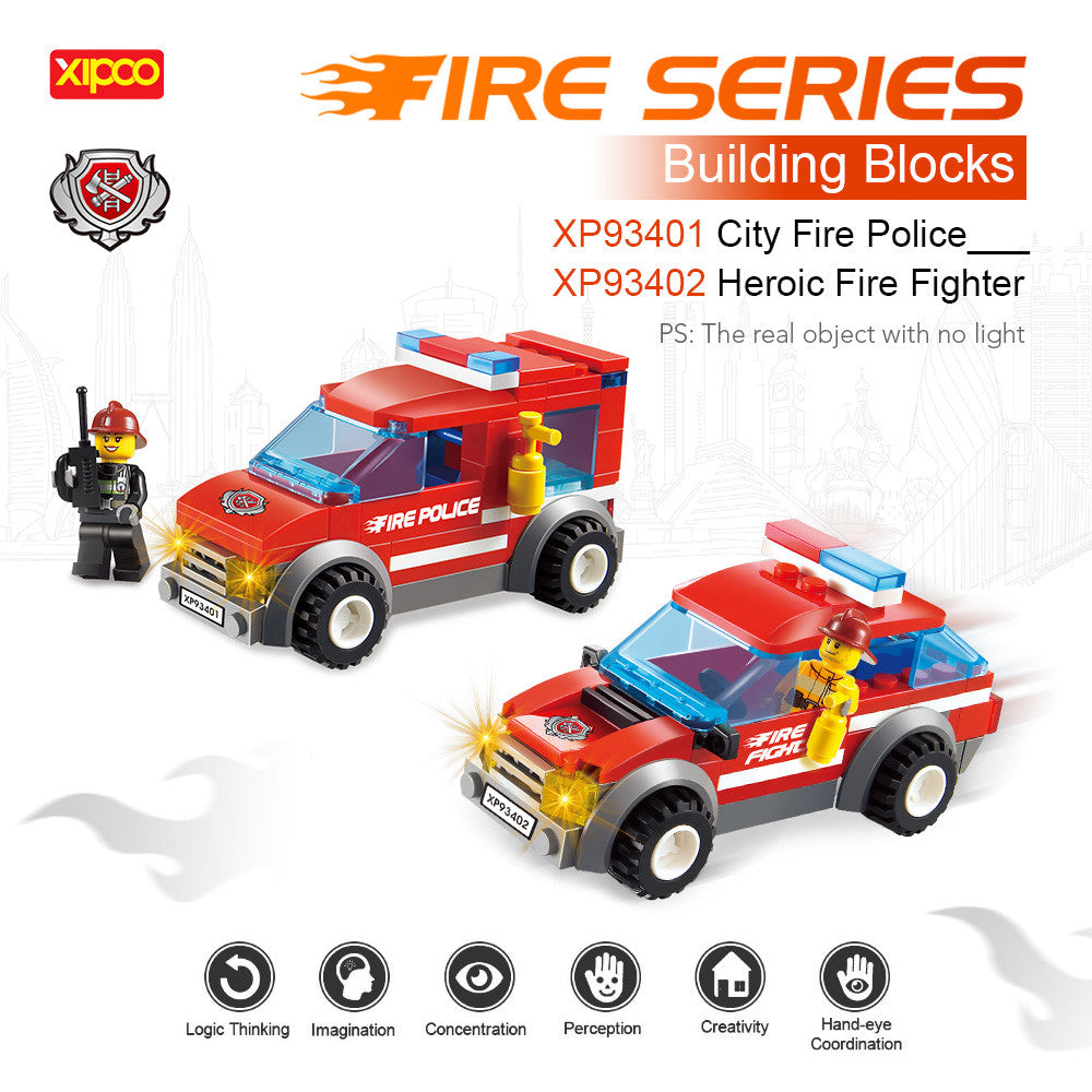 2 Sets XIPOO Fire Series 84pcs XP93401 City Fire Police and 72pcs