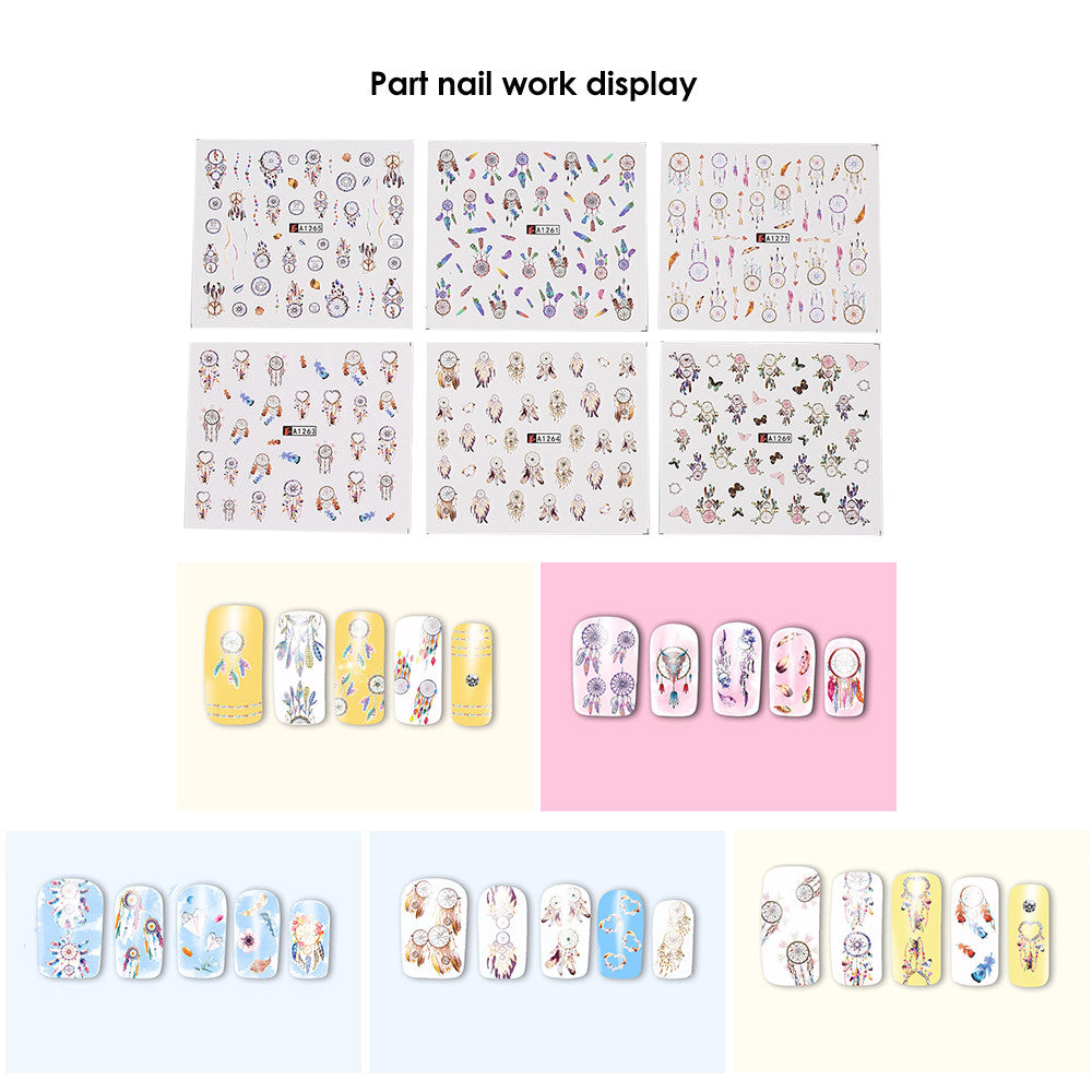 12pcs Nail Art Stickers Decal Dream Catcher Flower Water Transfer Mixed Pattern Manicure Decoration P3321Default TitleBuy mate