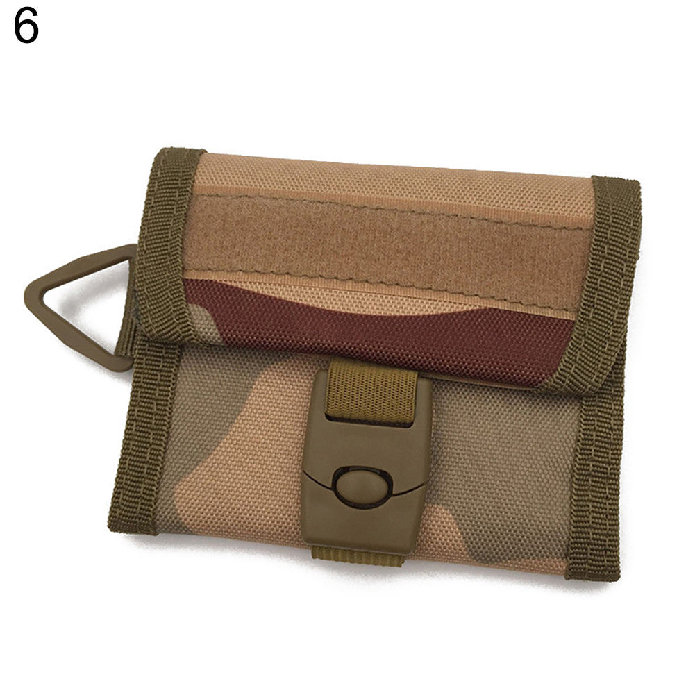 Tactical Triple-folding Wallet Men Sport Purse Molle Card Pocket Key Hanging Bag p2519