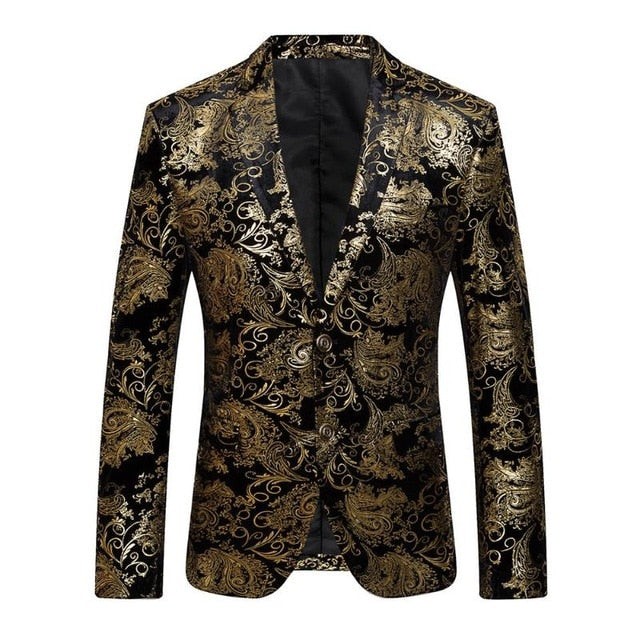 2018 New Male Party Blazers Wedding Blazers Floral Jacket Suit Mens Fashion Single Button Suits p3603c / 4XLBuy mate
