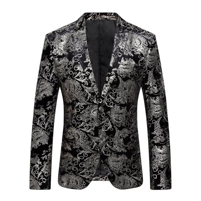 2018 New Male Party Blazers Wedding Blazers Floral Jacket Suit Mens Fashion Single Button Suits p3603e / 4XLBuy mate