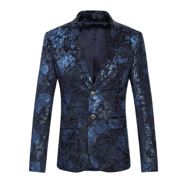 2018 New Male Party Blazers Wedding Blazers Floral Jacket Suit Mens Fashion Single Button Suits p3603b / 4XLBuy mate