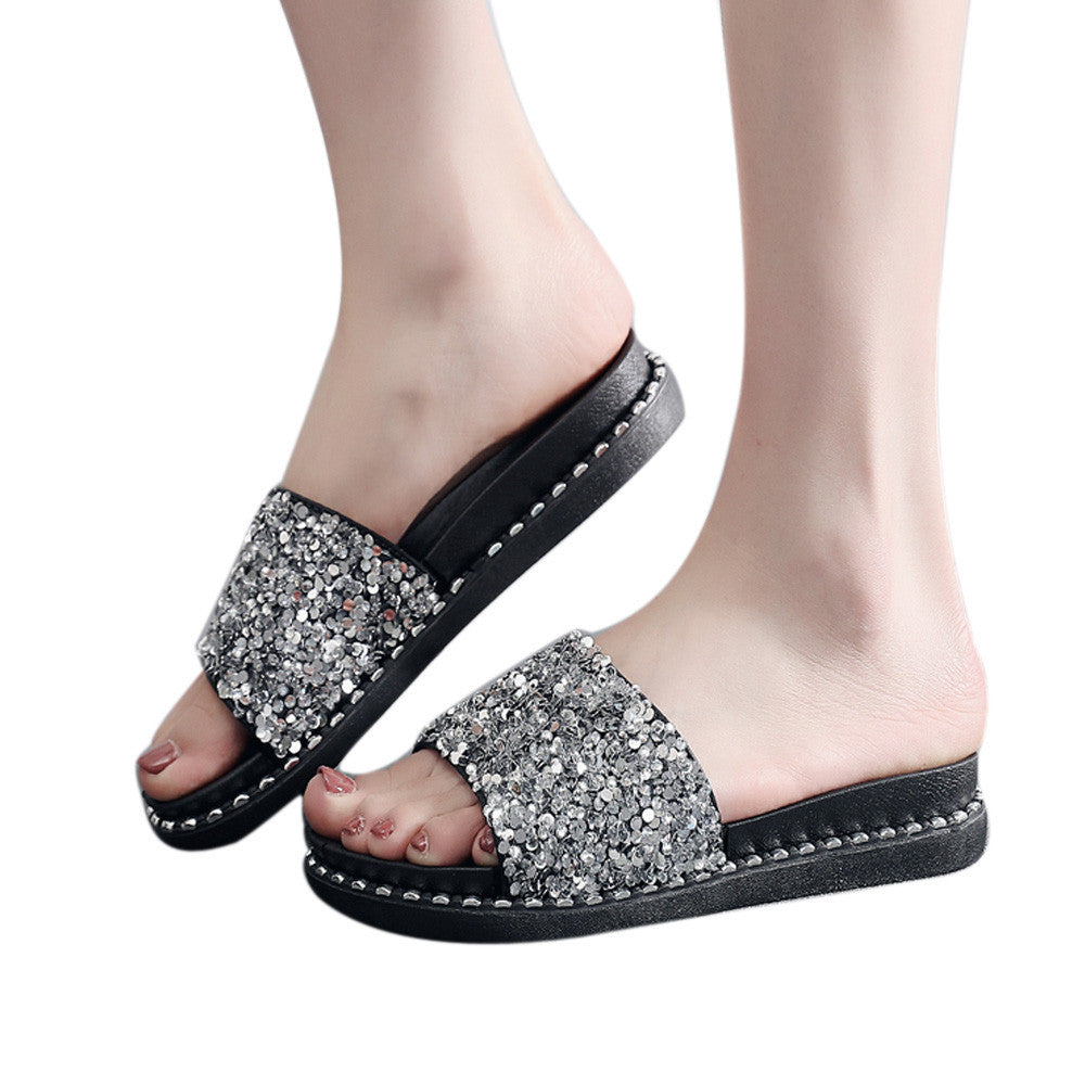 Women Slippers Sequined Platform Flip Flops Sandals Glitter
