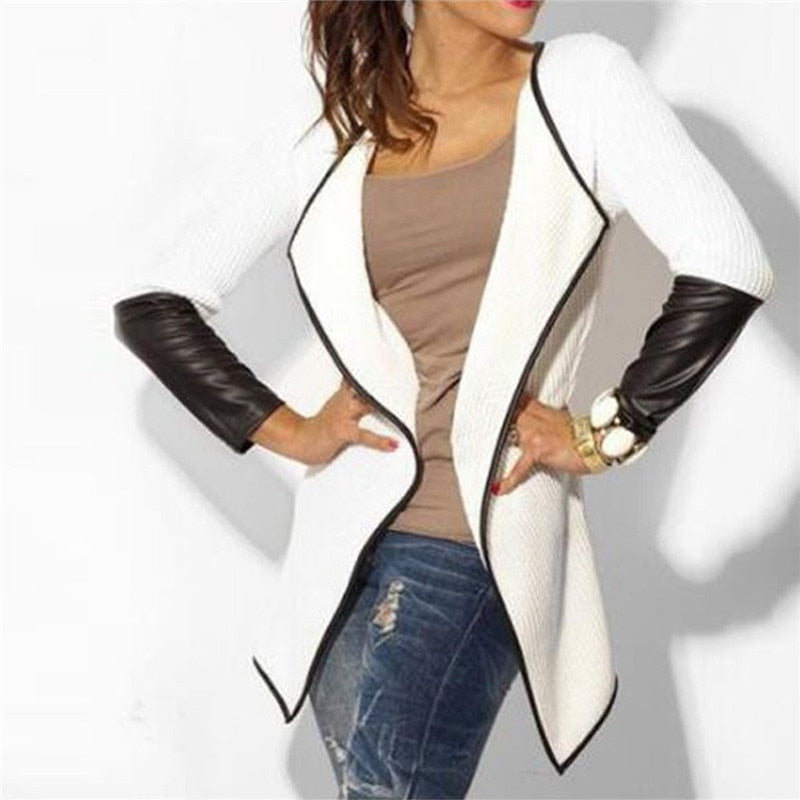 Long Sleeve Cardigan Patchwork Ladies Clothes Casual Slim Coats