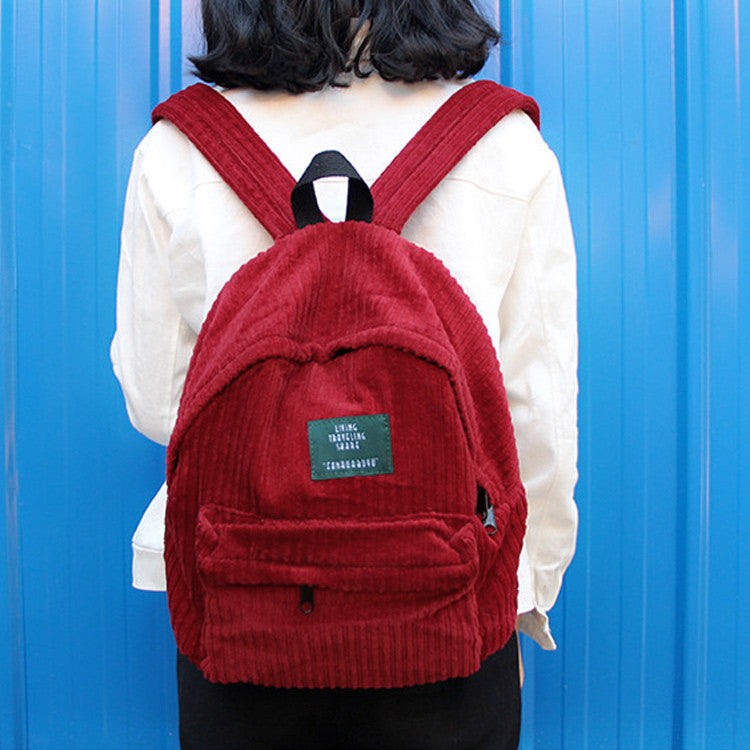 New Fashion Women Girls Backpack Corduroy Solid Color Large Capacity Casual Student p2718
