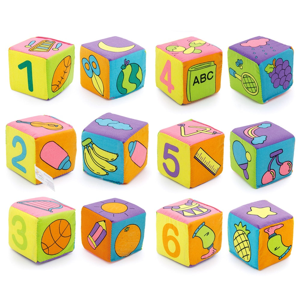 6 PCS Cubes Toys for Children Baby 6pcs/lot Baby Kids Cloth Building Blocks Rattle p2758Buy mate